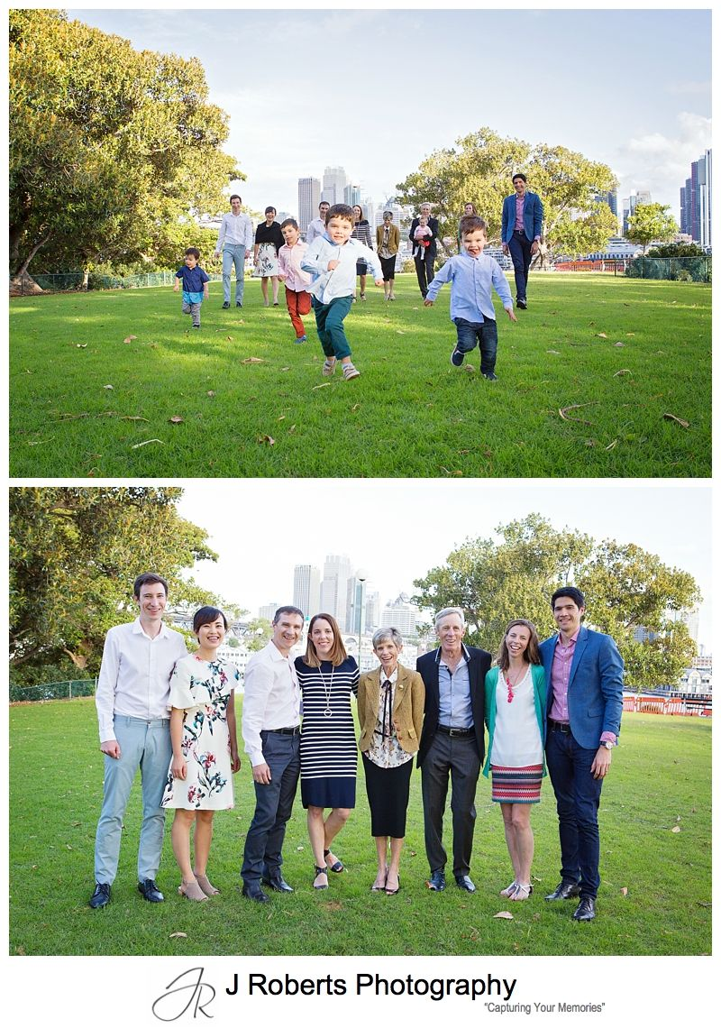 Multi Generation Extended Family Portrait Photography Session Sydney Blues Point Reserve in Autumn